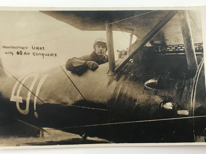 Postcard image of Ernst Udet Fighter ace with 62 victories