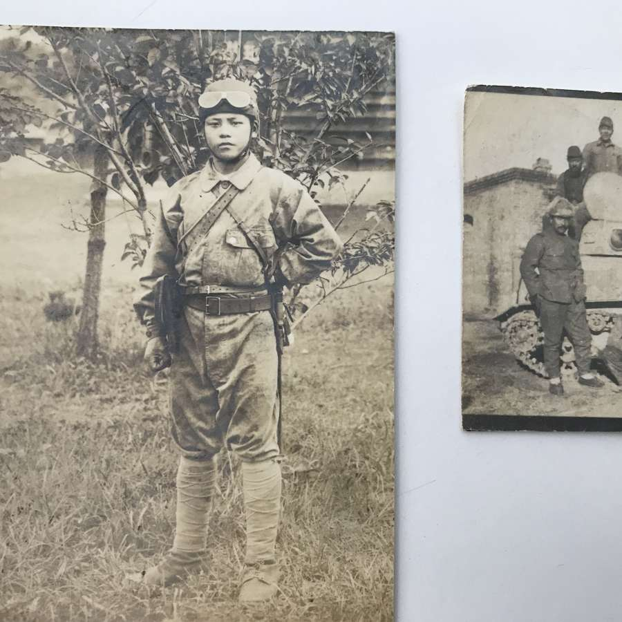 Two rare photographs of a Japanese Tankette and Tanker