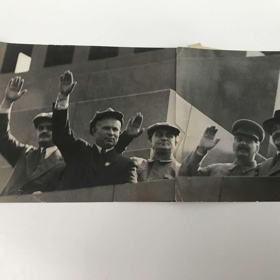 Press photograph of Joseph Stalin and the Pollitt bureau