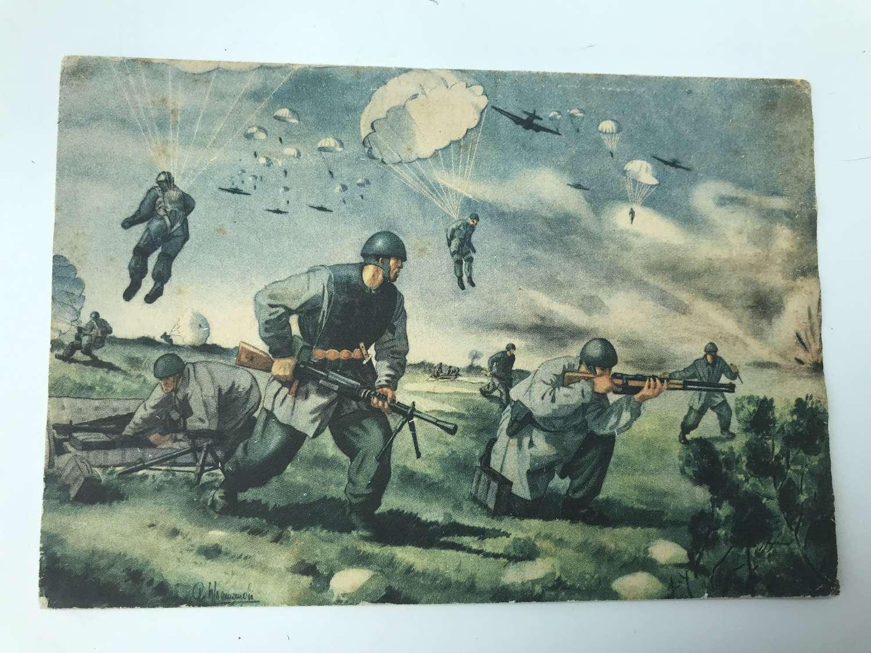 Italian propaganda  paratrooper postcard