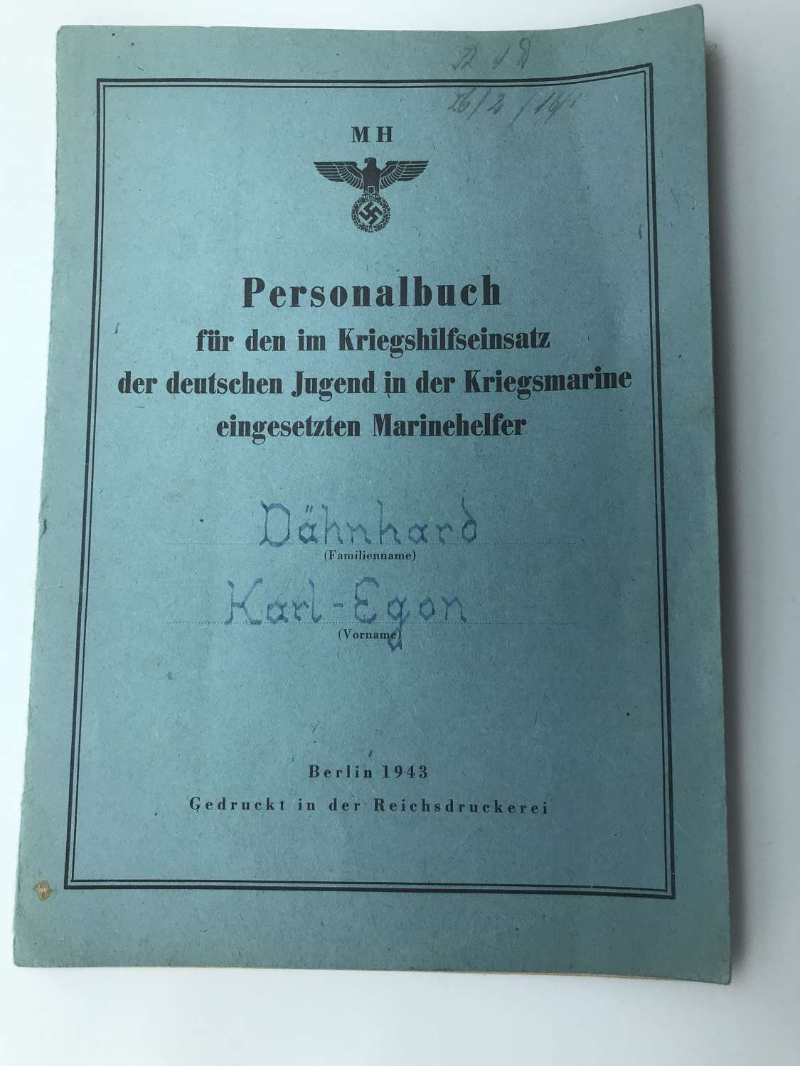 Personal book for HJ service in The Navy cadets