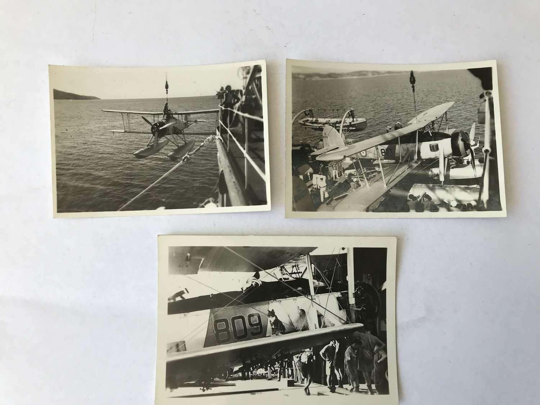 Three photographs of fairey swordfish dated 1937
