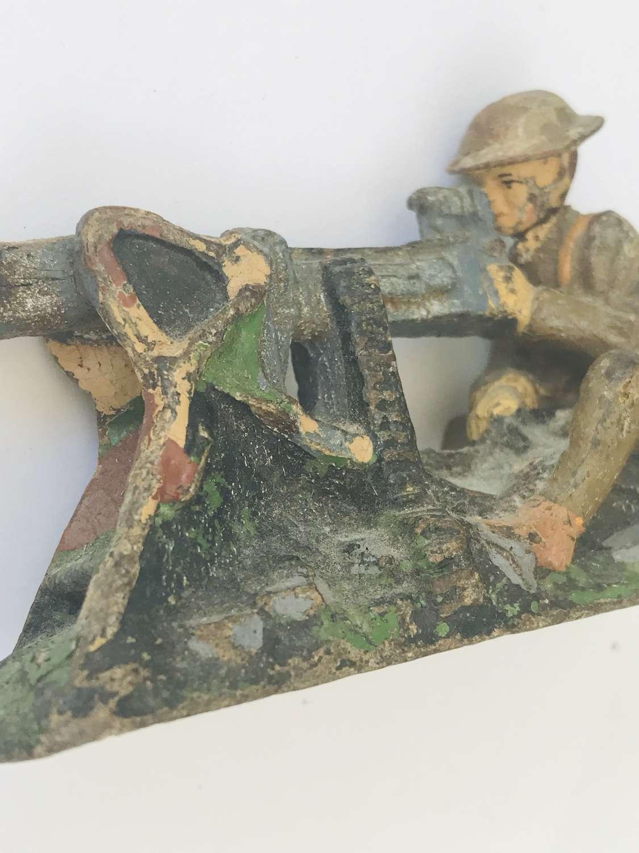 Pre war Elastolin British Tommie Machine gunner