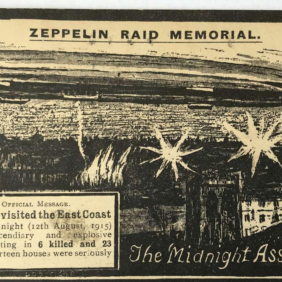 Zeppelin Raid memorial postcard 1916 (The midnight assassins)