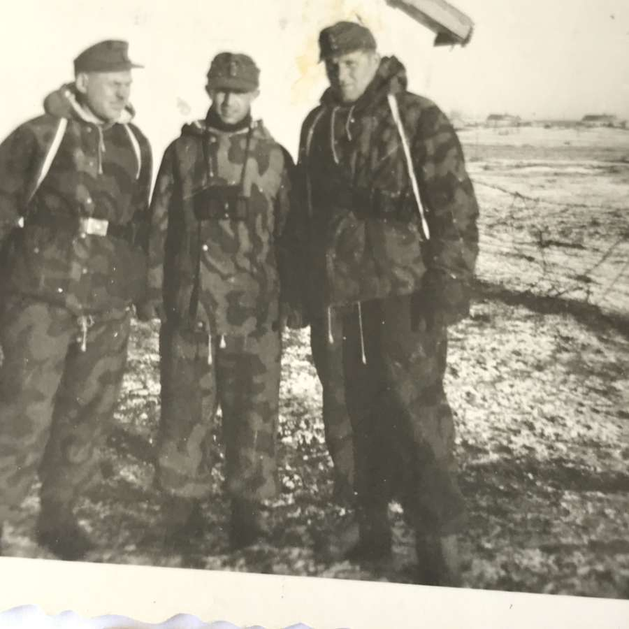 Three photographs of Germans in winter camo uniforms 1944