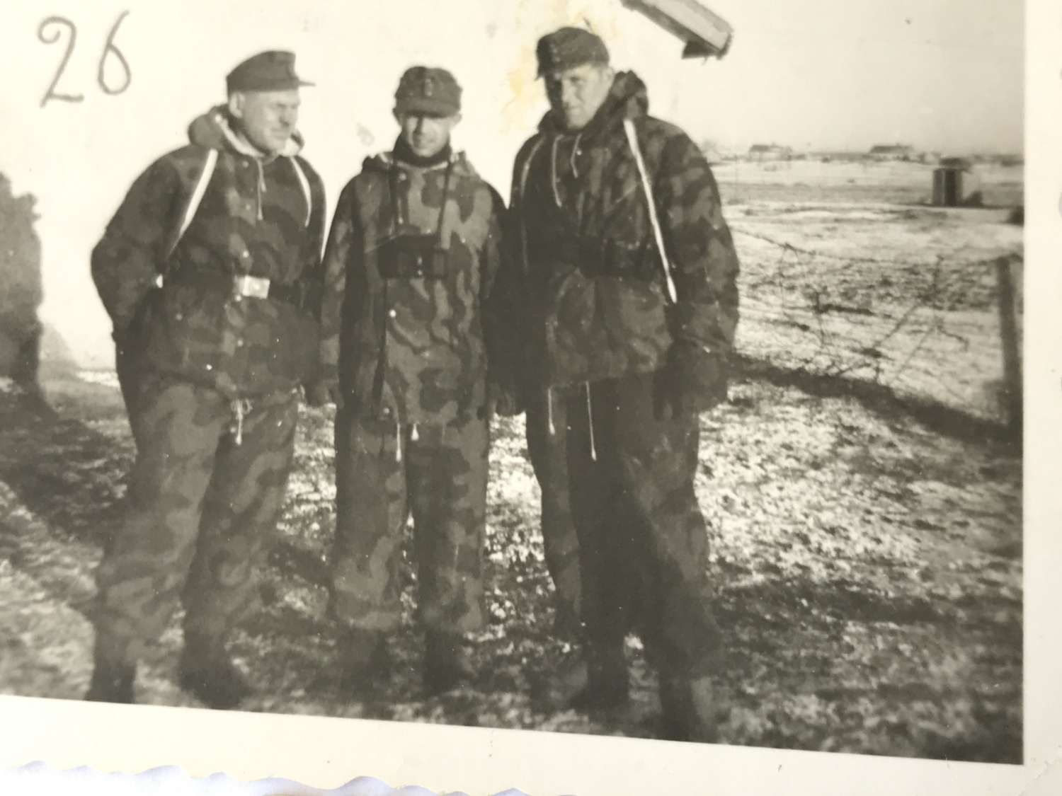 Three photographs of Germans in winter camo uniforms 1944