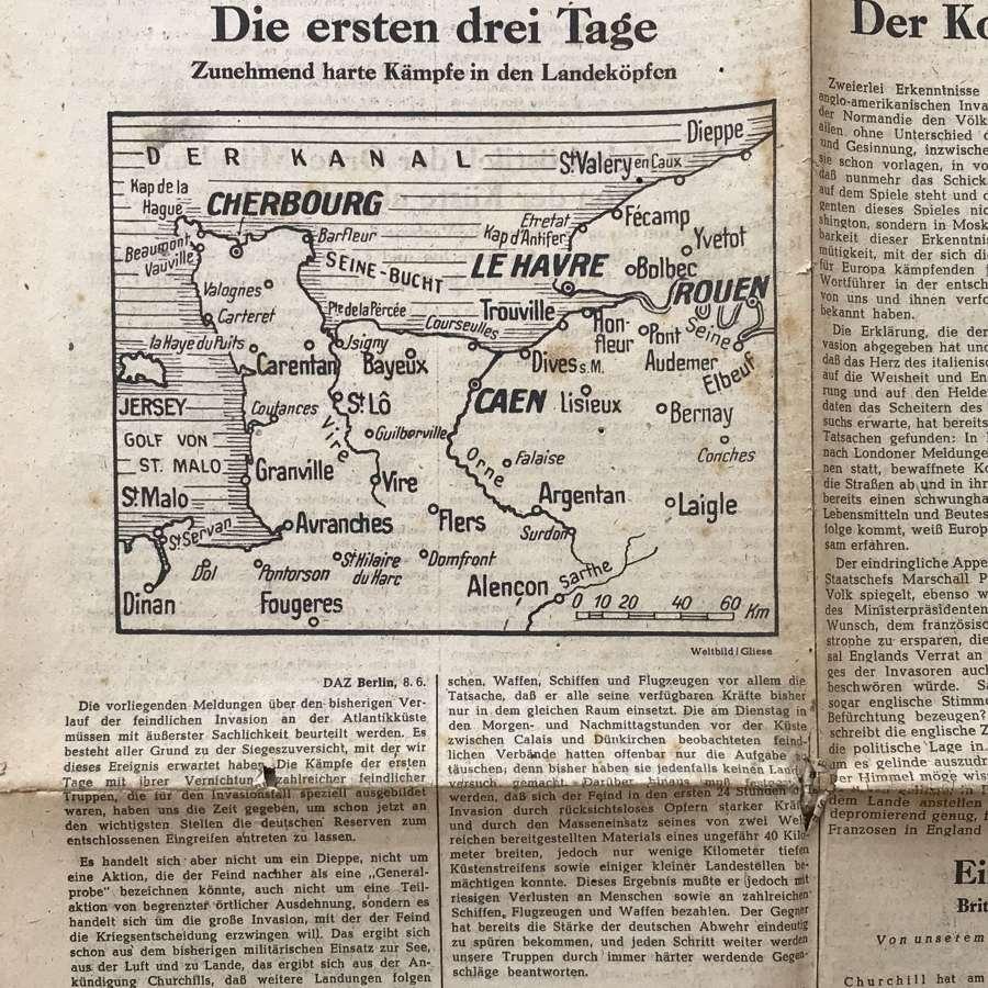 German newspaper announcing D Day