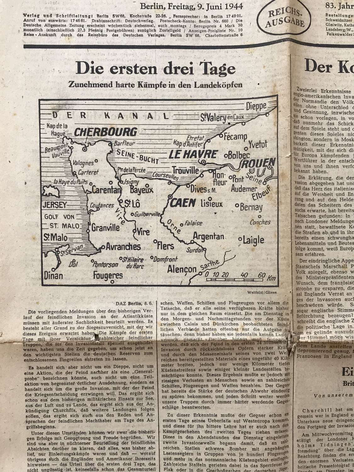 German newspaper announcing D Day