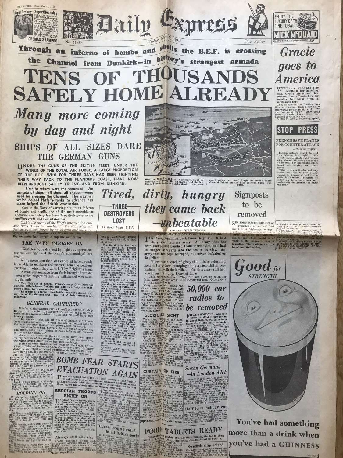 Daily express dated May 1940 Dunkirk evacuation