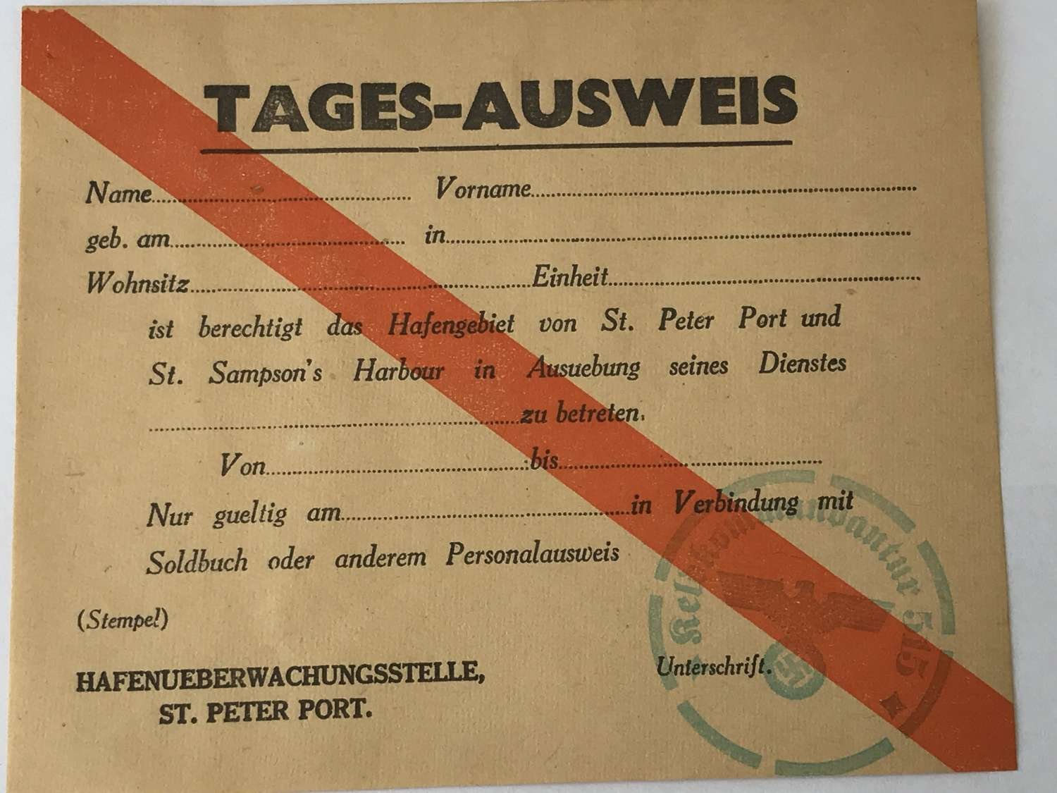 German Day pass for St Peter's Port Guernsey