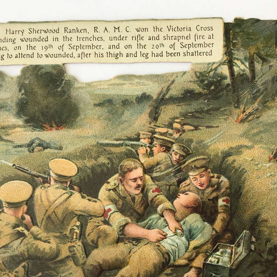 Colour and embossed postcard of Harry Ranken VC