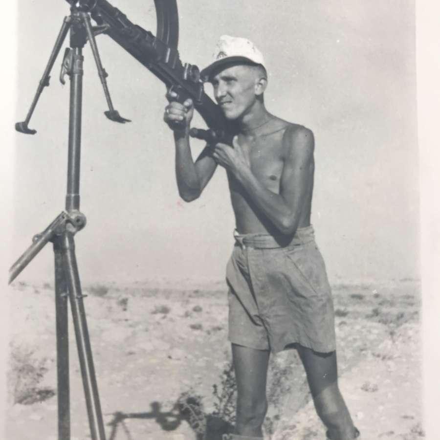 Photograph of a German using captured British Bren  gun