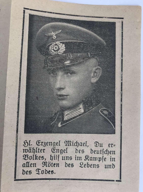 Memorial card to Felix Baumler killed November 1942 at Stalingrad