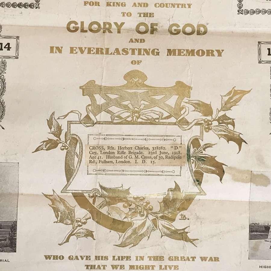Memorials scroll to the memory of Rfn Herbert Cross