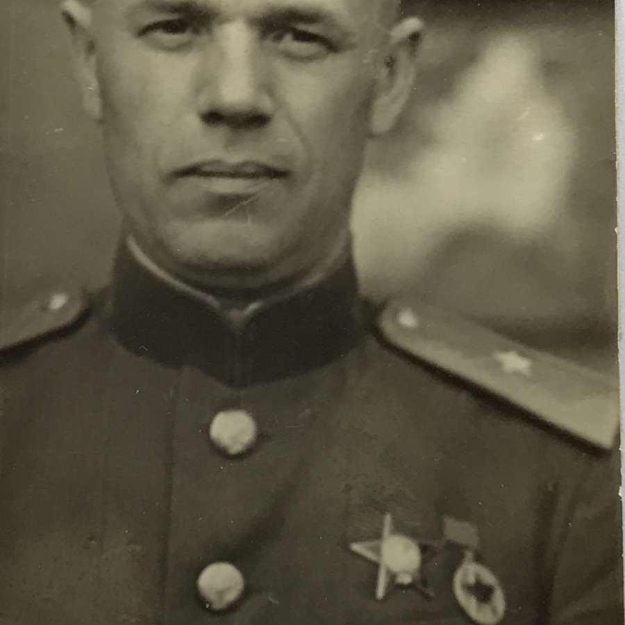 A photograph of a decorated Soviet officer