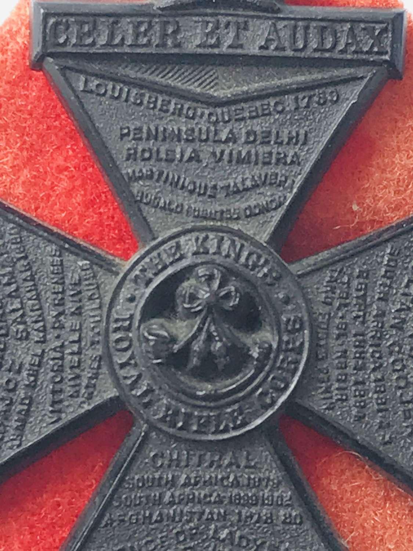 Kings Royal rifle Corps economy plastic cap badge