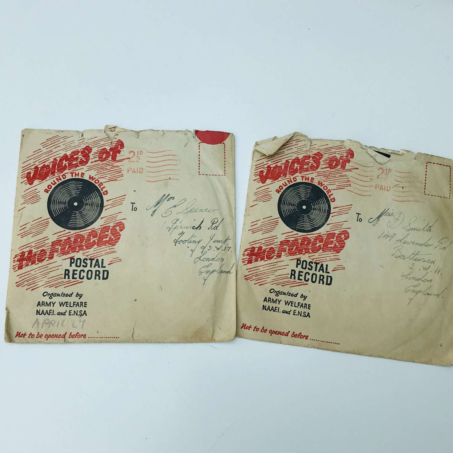 Voices of the forces records in original envelopes.