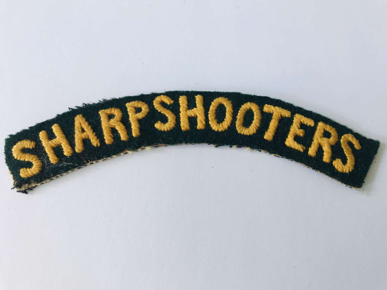Embroidered sharpshooters shoulder title