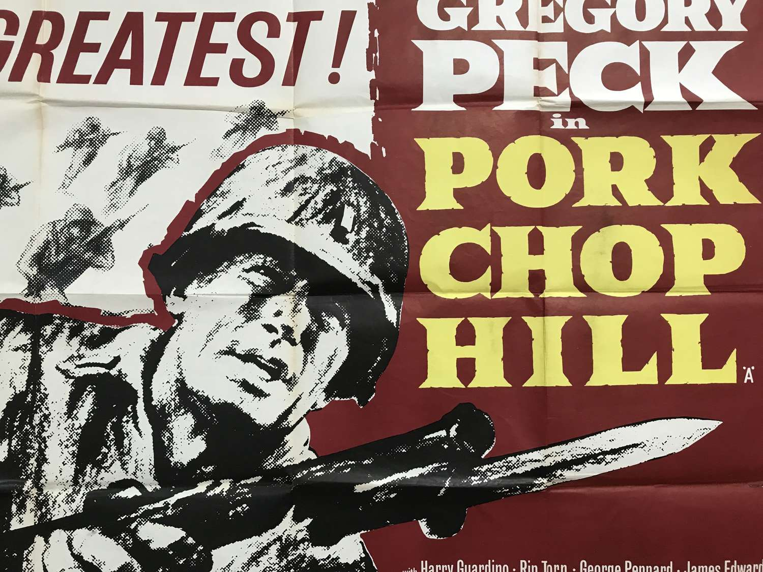 Pork chop Hill film poster starring Gregory Peck dated 1959