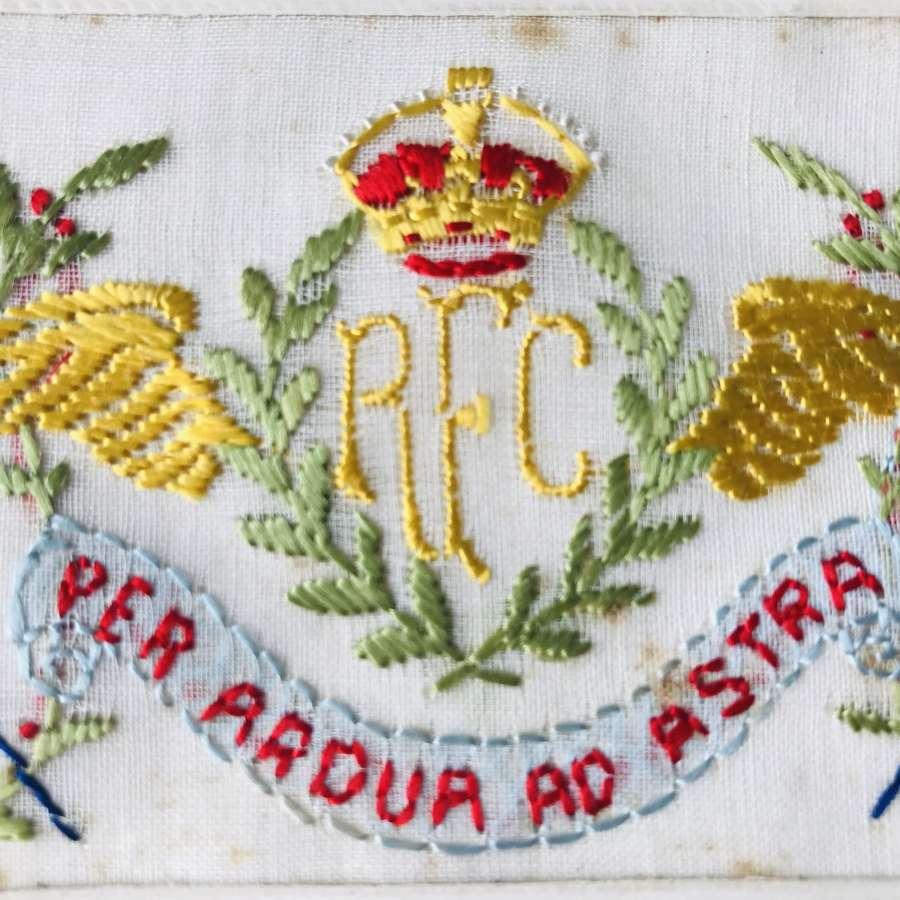 Royal flying Corps silk postcard