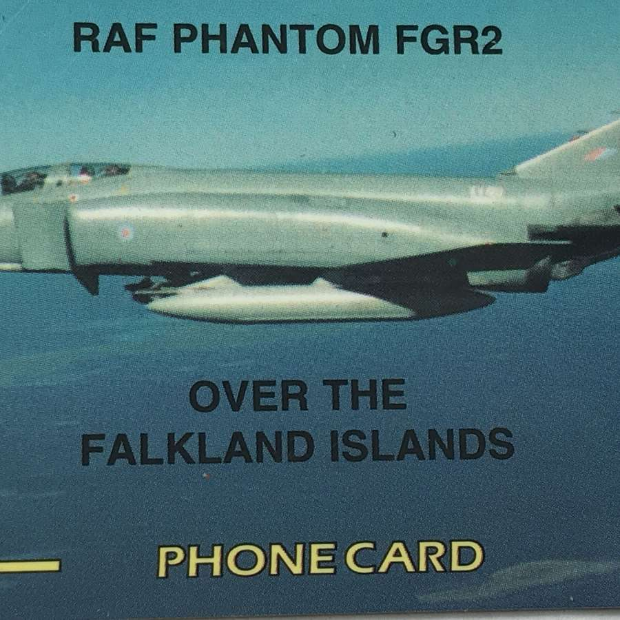 Rare Falklands Phone card featuring RAF Phantom