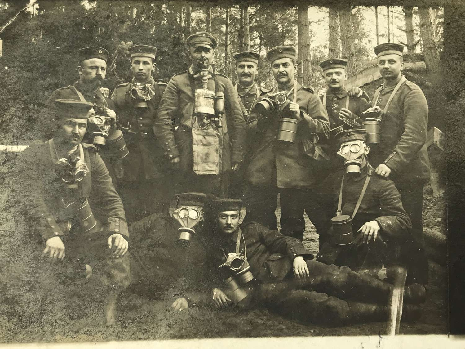 Germans soldiers Posing in gas masks dated 1916