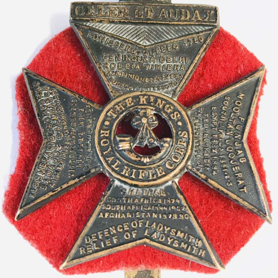 Kings Royal rifle Corps cap Badge