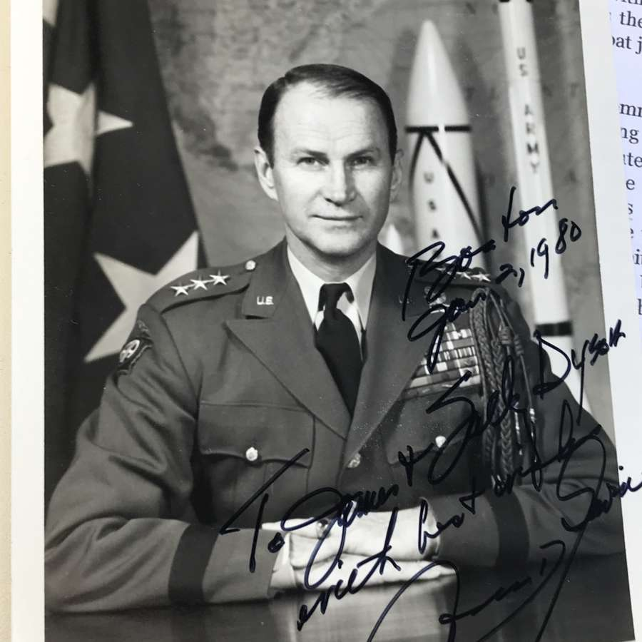 Signed photograph dated 1980 of  James Gavin, 82nd airborne