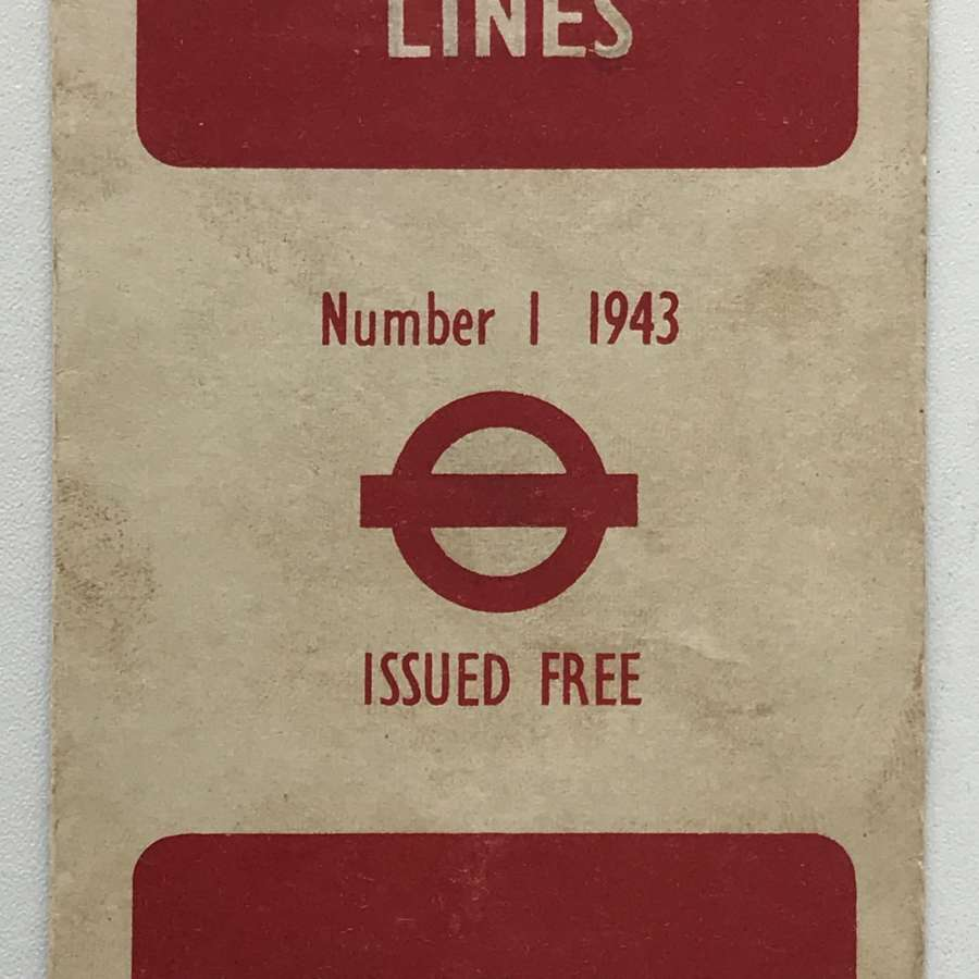Incredibly Rare London War time (1943) Underground Map