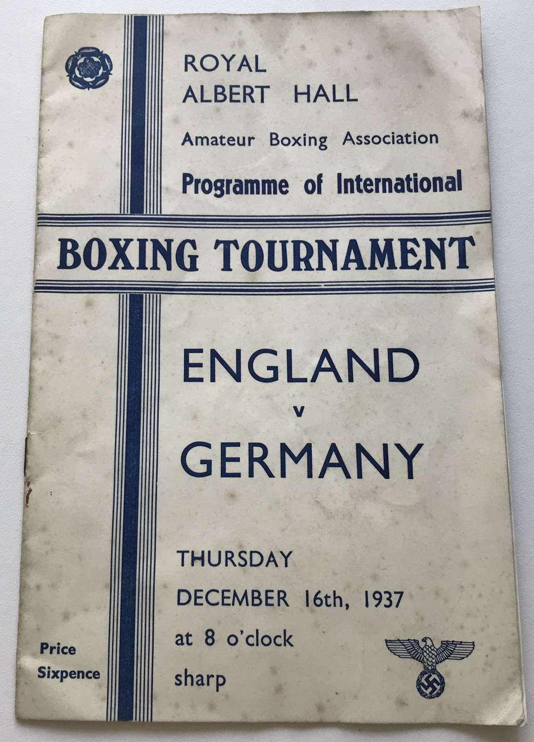 Boxing Tournament booklet England V Germany 1937 (Swastika marked)