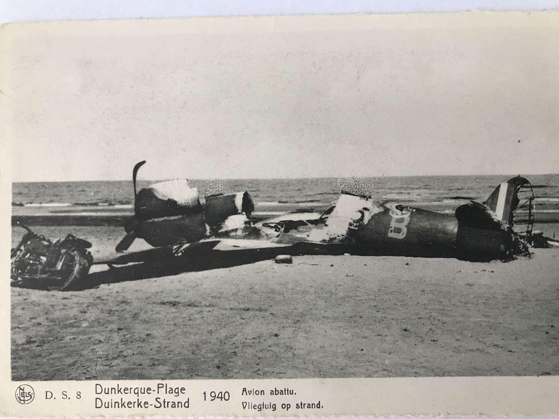 Wrecked Spitfire on Dunkirk Beach postcard