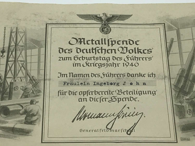 Certificate of metal donation for German war industry