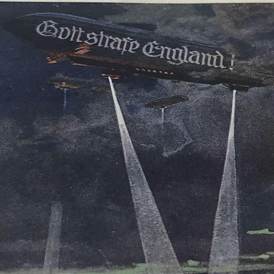 Zepplin propaganda postcard 1915 ( Gott Strafe England )