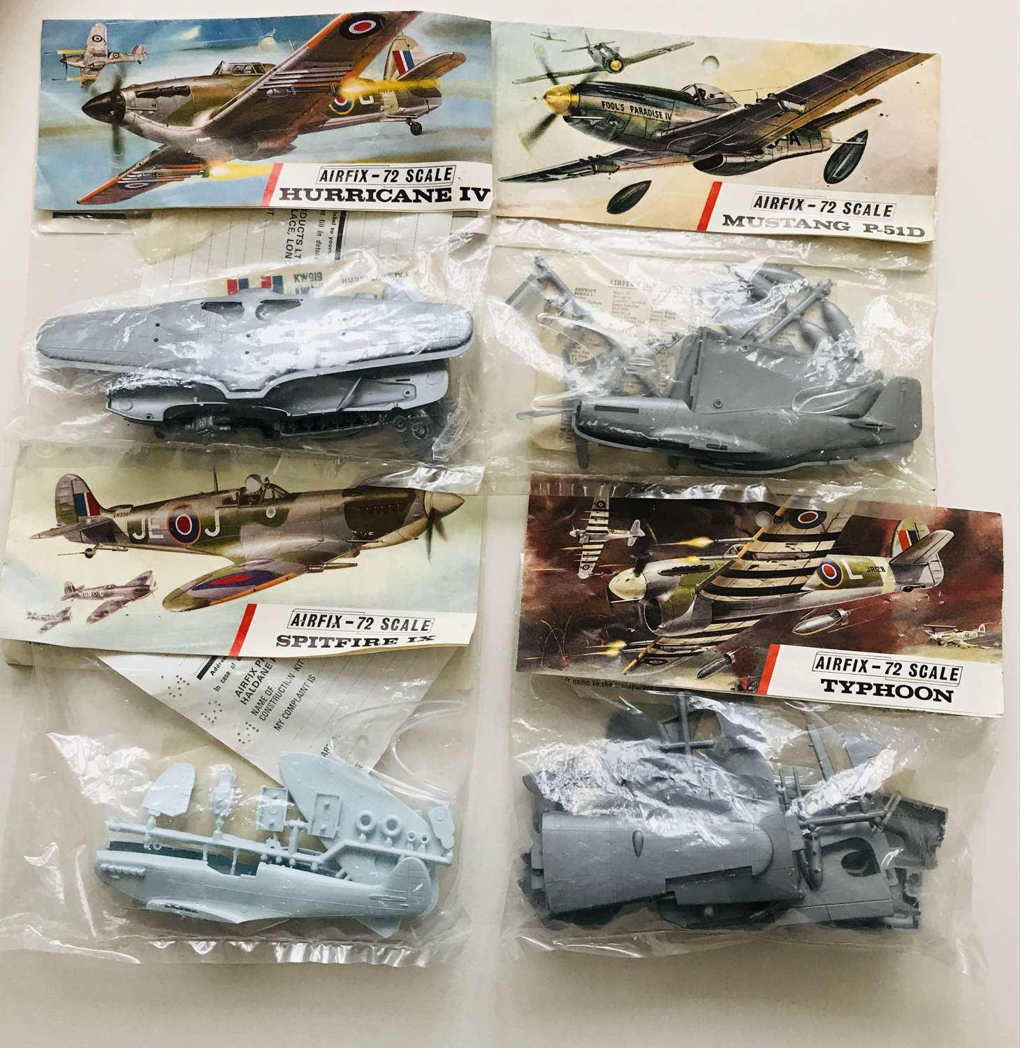 Four airfix models dating from the 1960s