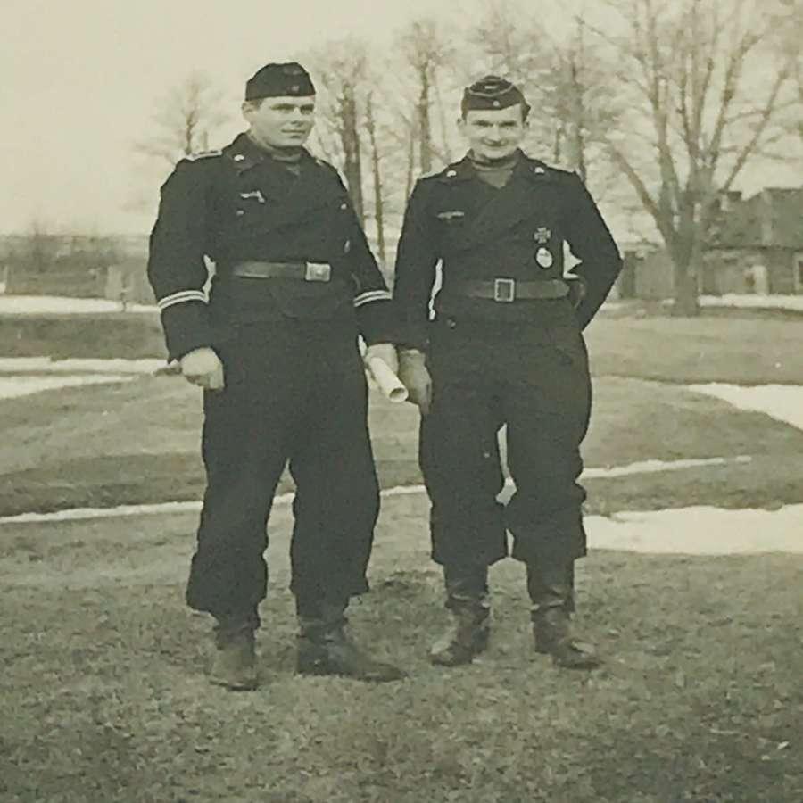 Decorated panzer  crew photograph