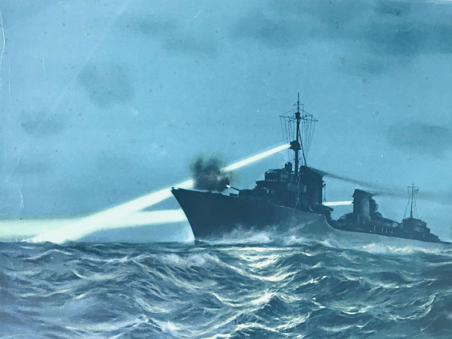 Destroyer in night action of the English coast