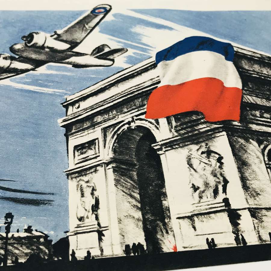 Propaganda leaflet dropping of the tricolour on the Arc de Triomphe
