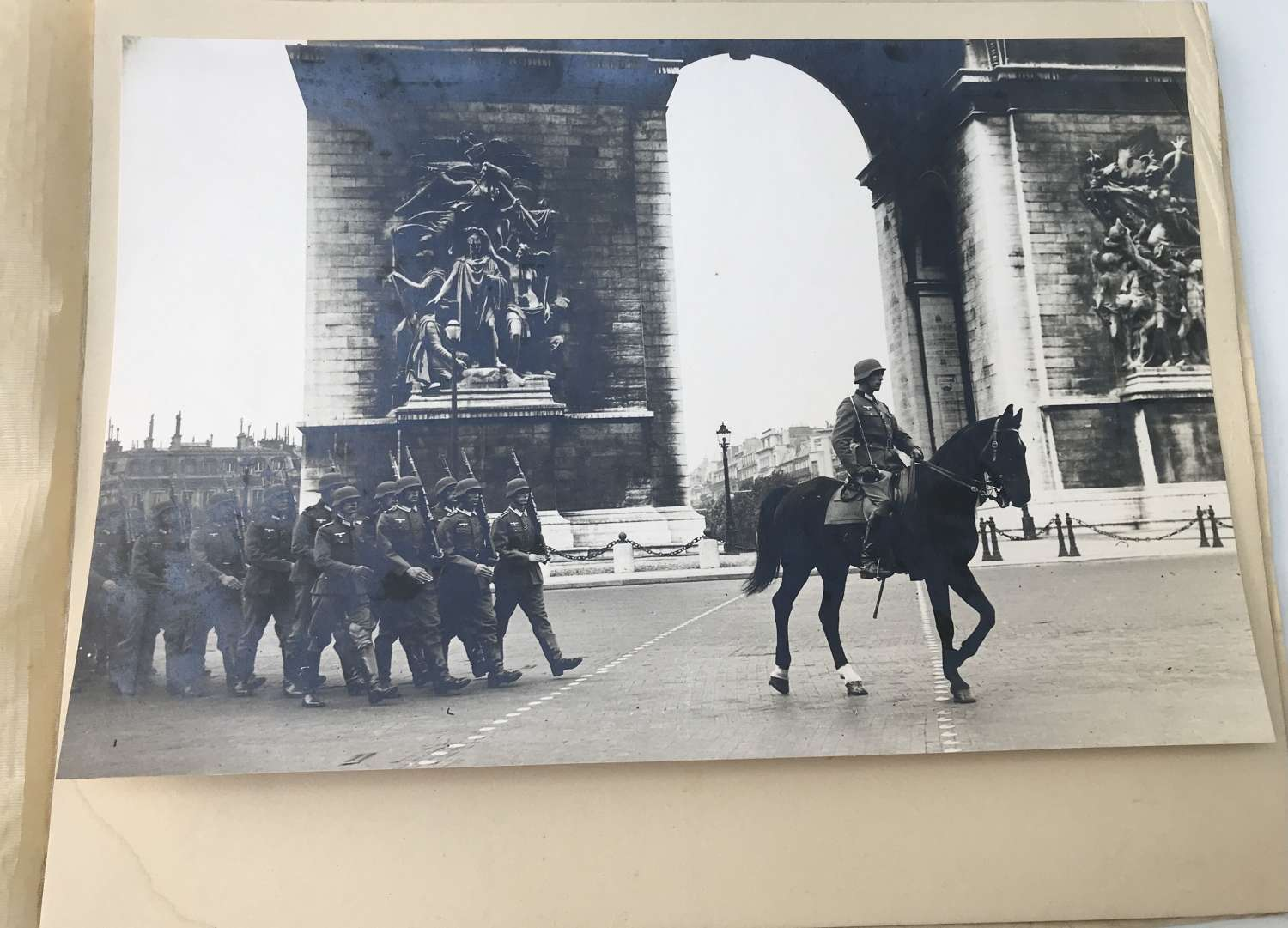 Professional mounted photograph of a German parade in Paris