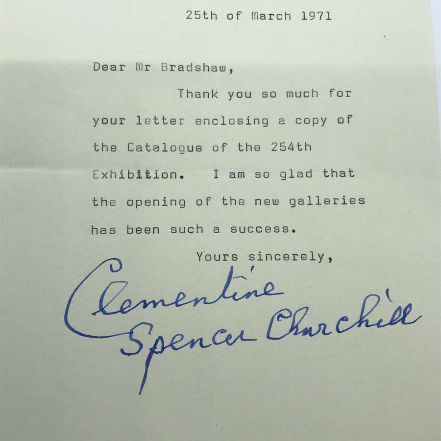 A letter signed by Clementine Churchill
