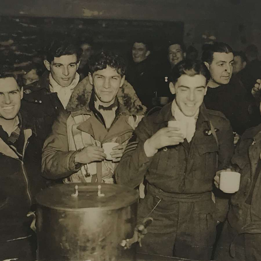 Glass negative of Lancaster crew January 1944