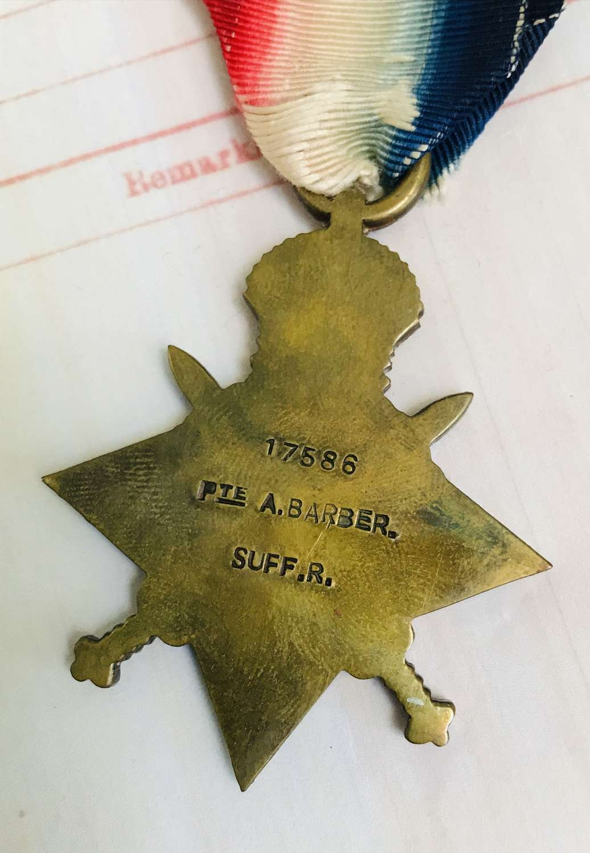 1914/15 Star to Albert Barber the Suffolk regiment