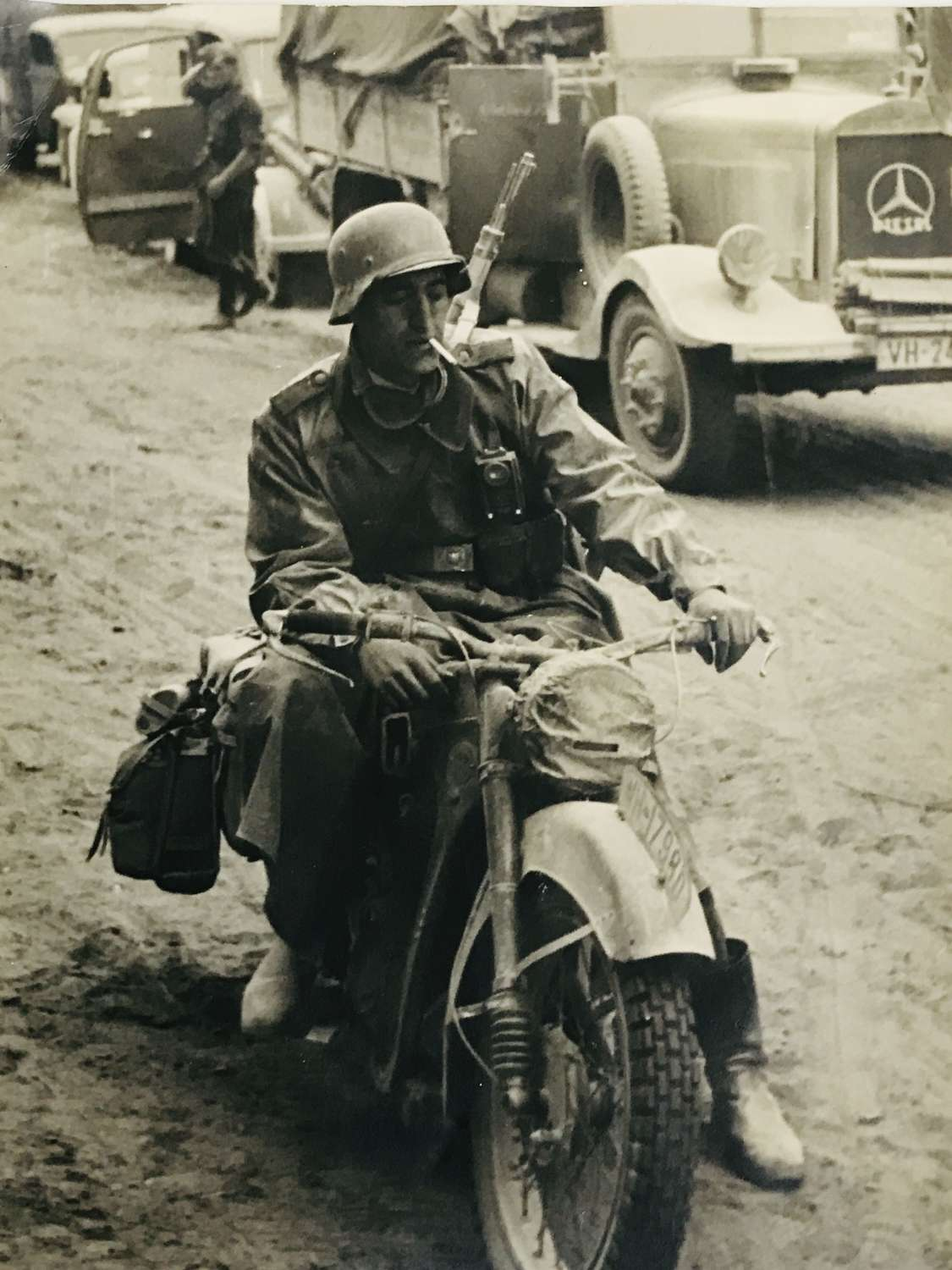 Large photograph of German motorcyclist