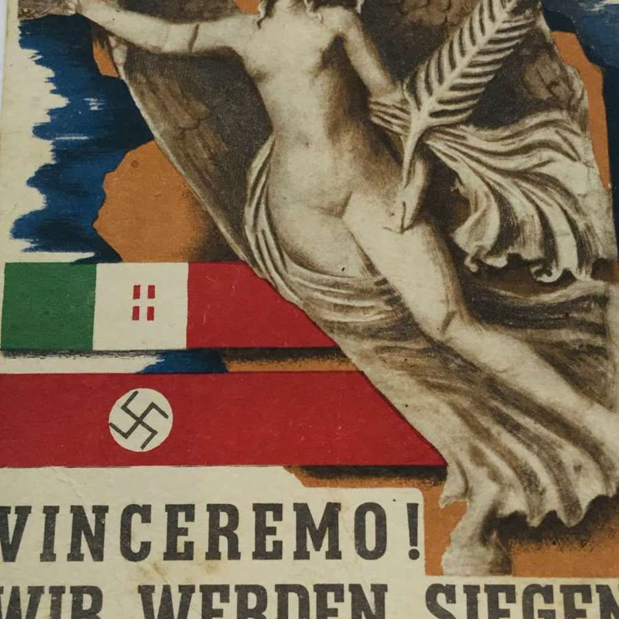 German Italian propaganda victory postcard