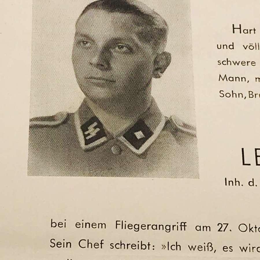 Waffen SS Memorial card